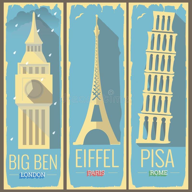 Big Ben basztowy London, wieża eifla Paris basztowy Rome i Pisa ilustracja wektor