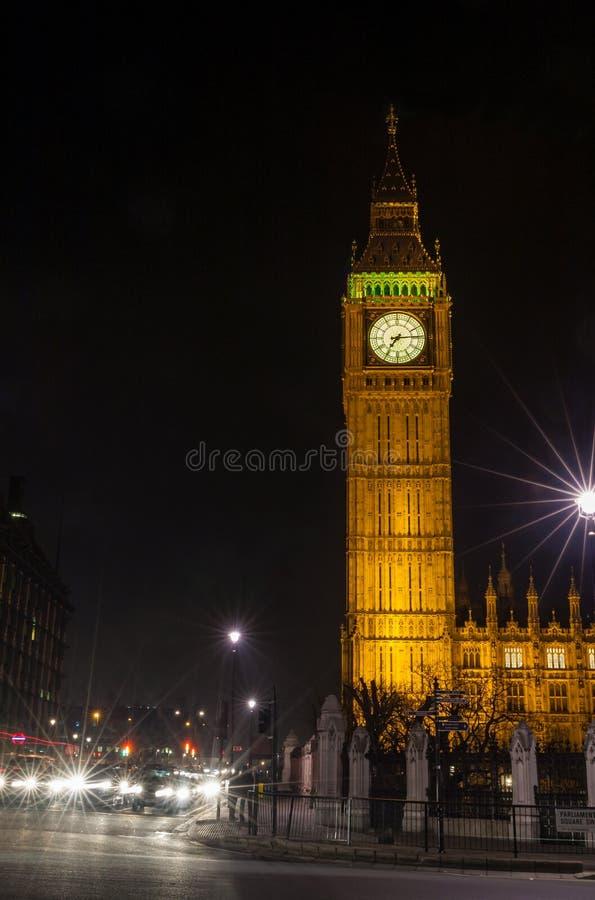 Big Ben bij Nacht, het Parlement Vierkant, Londen, Engeland stock afbeelding