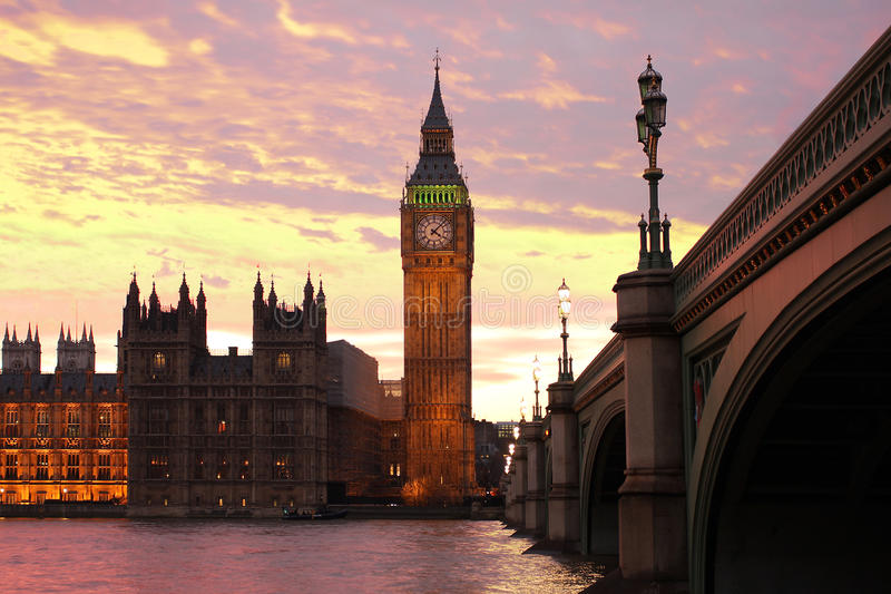 Big Ben with bridge, London, UK. Famous Big Ben with bridge, London, UK stock photos