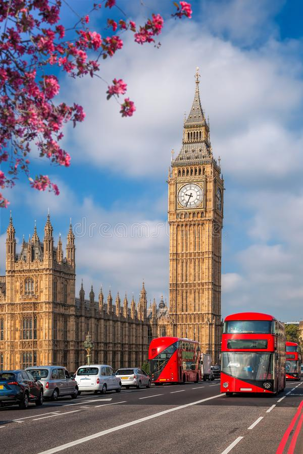 Big Ben with bus during spring time in London, England, UK stock photo