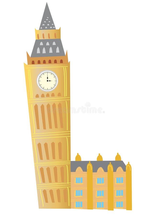 Big Ben. A cartoon Big Ben clock tower in London vector illustration