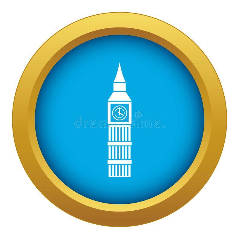 Big Ben clock icon blue vector isolated vector illustration