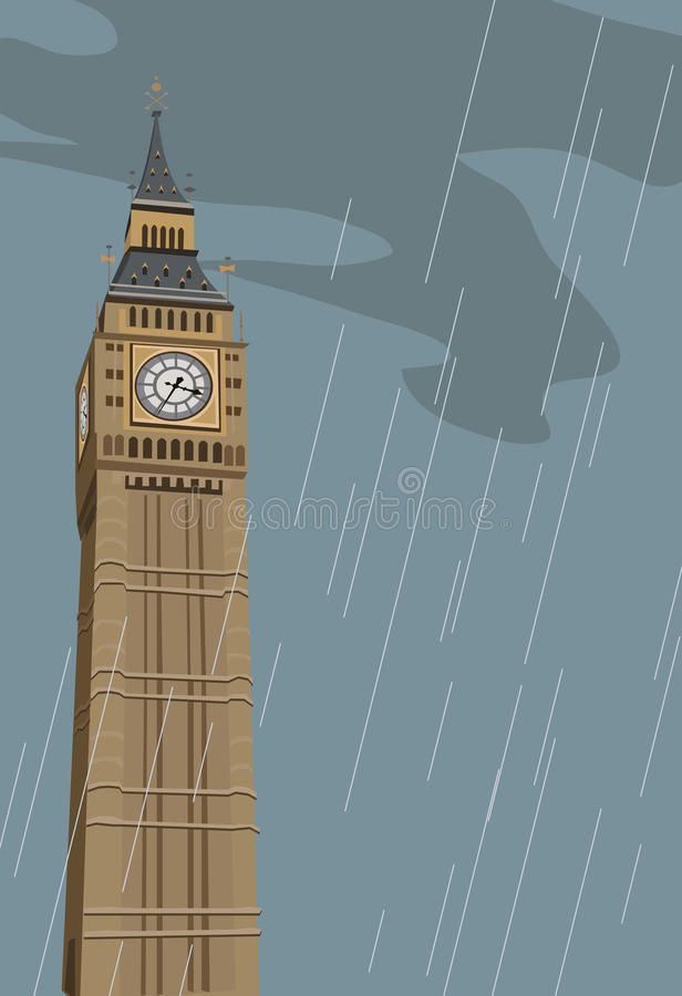 Big Ben Clock Tower. Illustration of Big Ben clock tower in London stock illustration