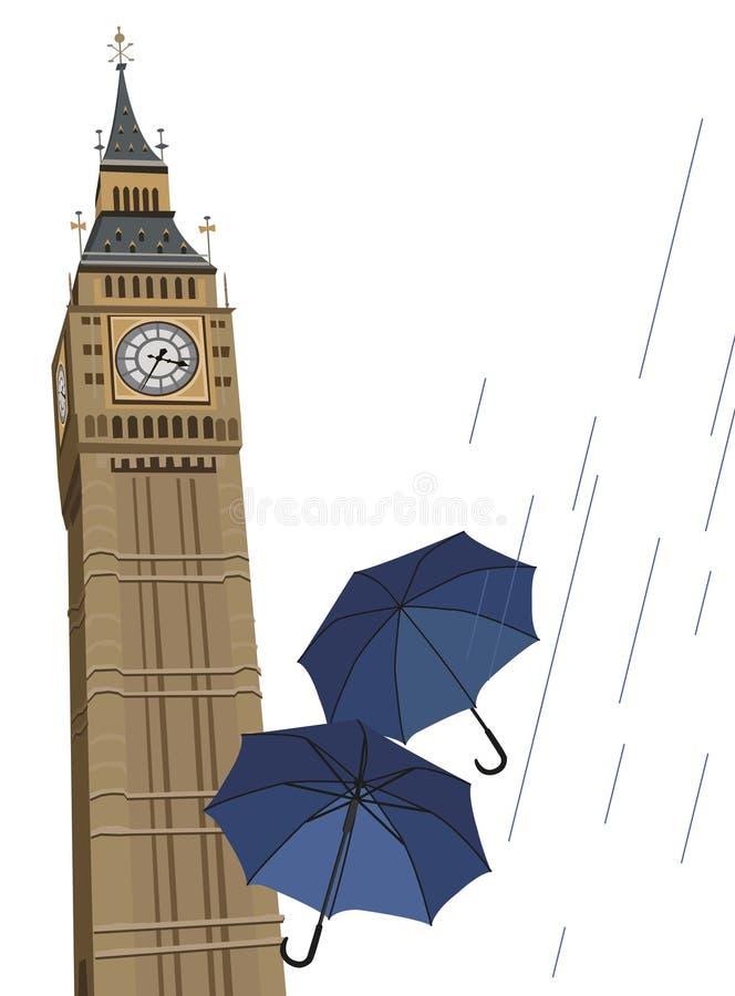 Big Ben Clock Tower. Illustration of London buses with umbrellas vector illustration