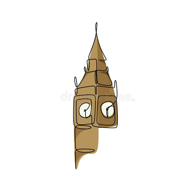 Big Ben clock tower continuous line drawing minimalist design vector illustration. Landmark england linear united kingdom travel hand drawn sketch style capital royalty free illustration