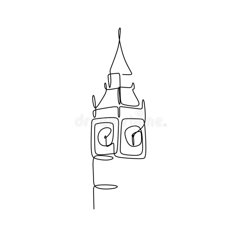 Big Ben clock tower continuous one line drawing minimalist design vector illustration. Landmark england linear united kingdom travel hand drawn sketch style royalty free illustration