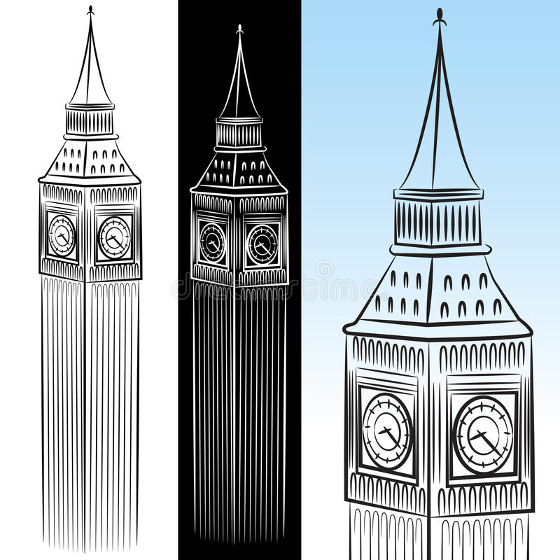 Download Big Ben Clock Tower Drawing Stock Vector