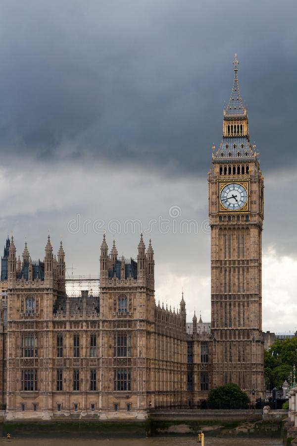 Big Ben clock tower and the Houses of Parliament on a cloudy day, Westminster, London, England, United Kingdom stock image