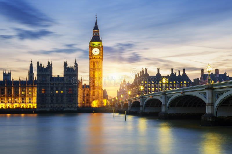 Big Ben clock tower in London at sunset. UK stock images
