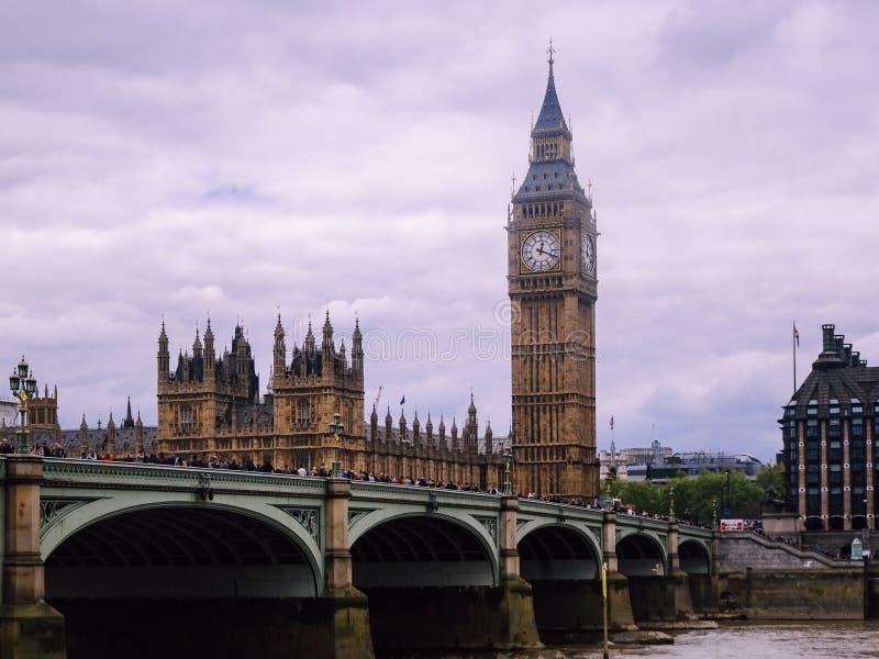 Big ben clock tower. London, UK ; Apr, 30, 2018; Big ben clock tower, bridge, touristic, city, history, attraction, outdoors, sunny, building, blue, westminster stock image