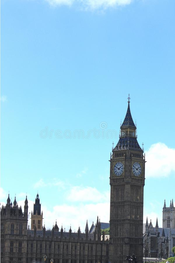 Big Ben clock tower on a sunny day in london stock photography