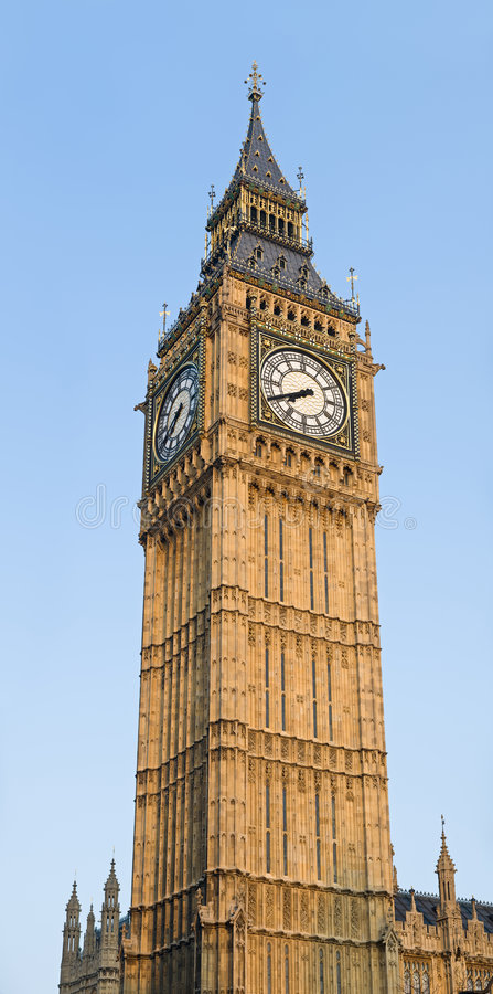 Big Ben - Clocktower at the Houses of Parliament. Big Ben, Clocktower of the Houses of Parliament in London, England royalty free stock images