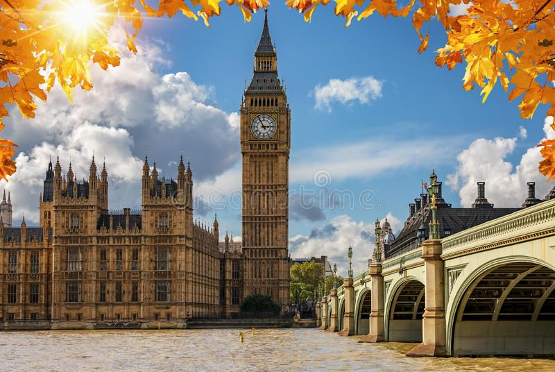 The Big Ben and Westminster Palace in London on a sunny autumn day, United Kingdom stock image