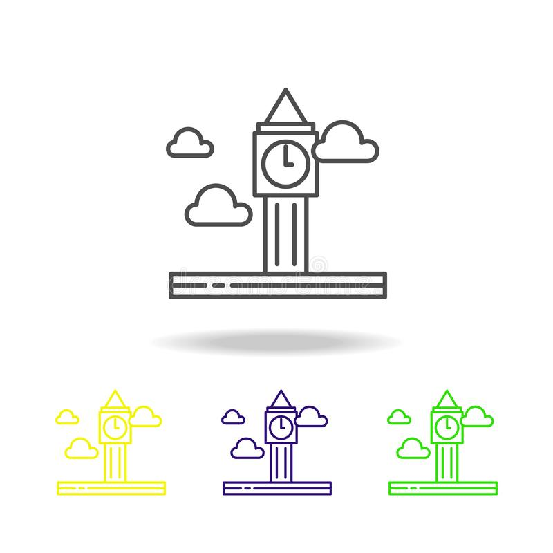 Big ben, cloud colored icon. Can be used for web, logo, mobile app, UI, UX. On white background stock illustration