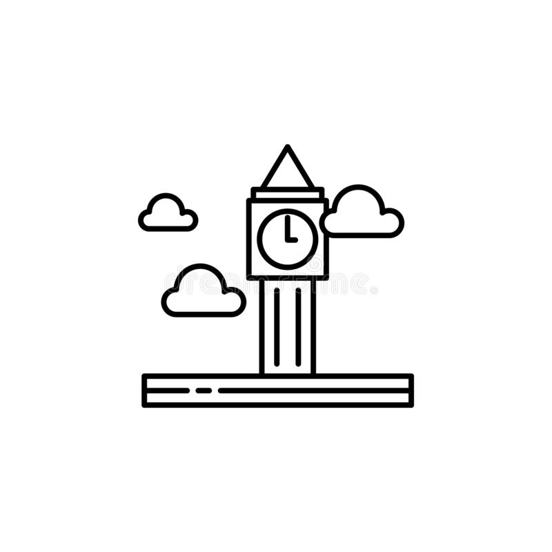 Big ben, cloud outline icon. Element of landscapes illustration. Signs and symbols outline icon can be used for web, logo, mobile. App, UI, UX stock illustration