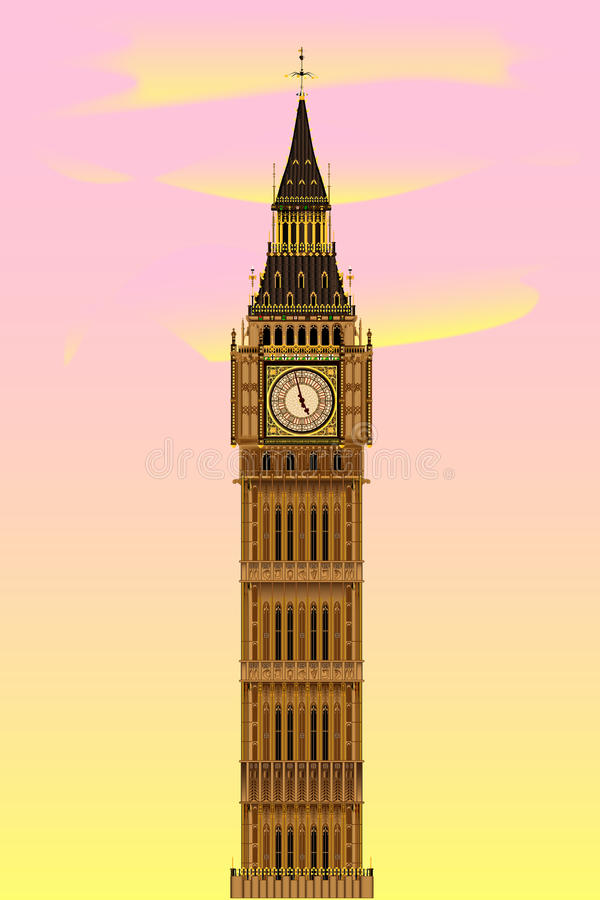 Big Ben at Dawn. The London landmark Big Ben Clock-tower at dawn against a pink and yellow sky stock illustration
