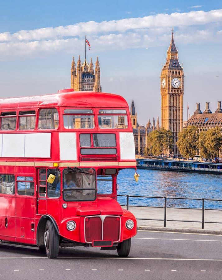 Big Ben with double decker bus in London, England, UK. Famous Big Ben with double decker bus in London, England, UK stock image