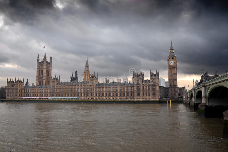The Big Ben With A Dramatic Cloudy Sky Stock Photo
