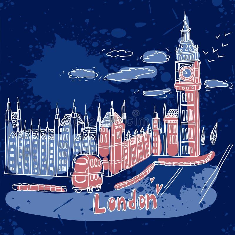 Big Ben e Camera del Parlamento, Londra, Regno Unito illustrazione di stock
