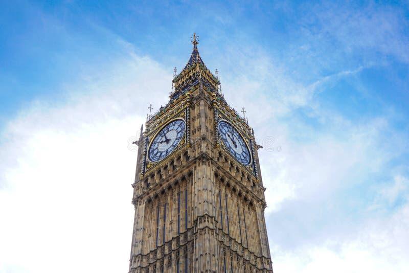 Big Ben Elizabeth tower clock face, Palace of Westminster, London, UK stock photography