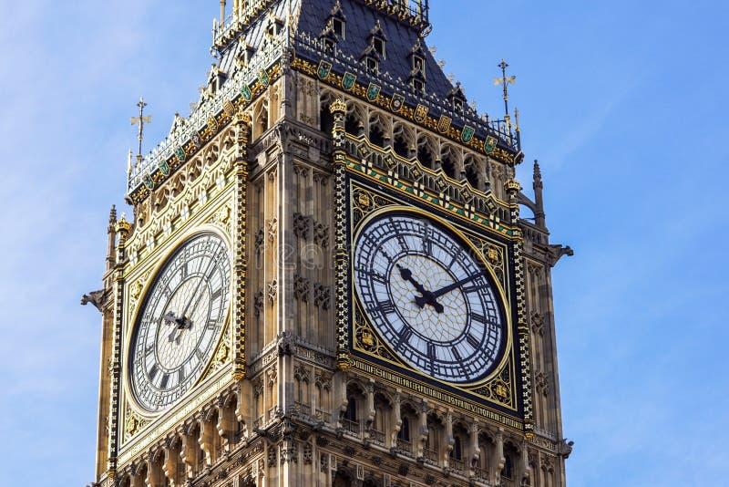 Big Ben Elizabeth tower clock face, Palace of Westminster, London, UK.  stock images