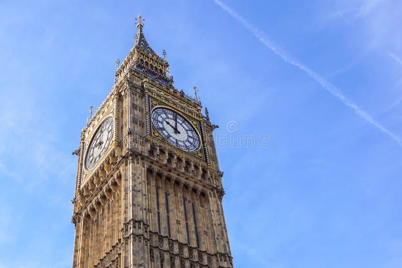Big Ben Elizabeth tower clock face, Palace of Westminster, London, UK.  royalty free stock photos