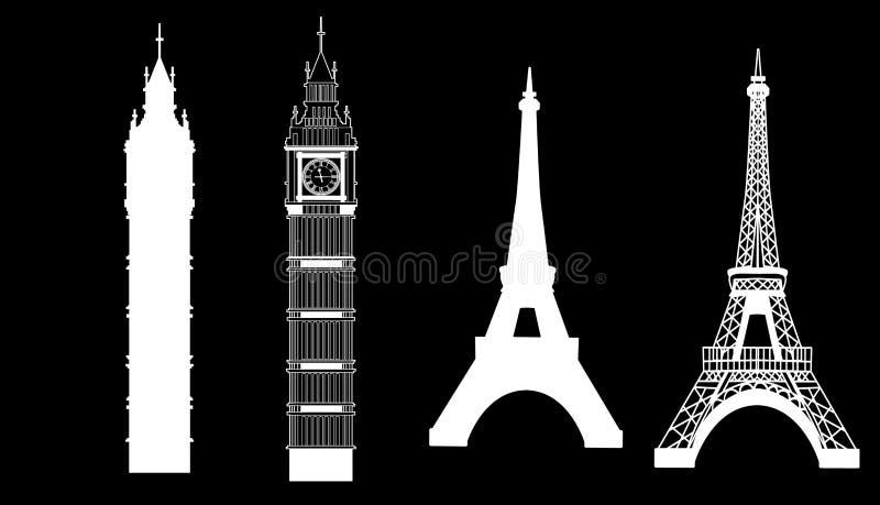 Big Ben en de Toren van Eiffel vector illustratie