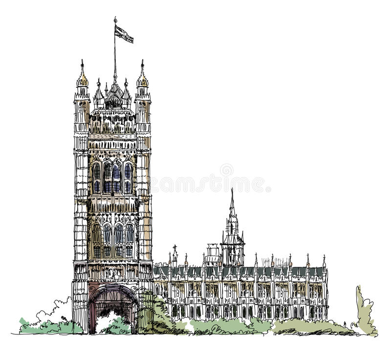 Big Ben en het Parlement toren in Londen, schetsinzameling, Buckingham-paleispoort royalty-vrije illustratie