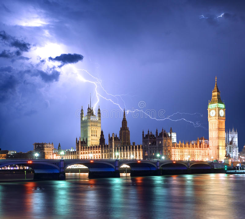 Big Ben en Huizen van het Parlement, Londen, het UK royalty-vrije stock fotografie