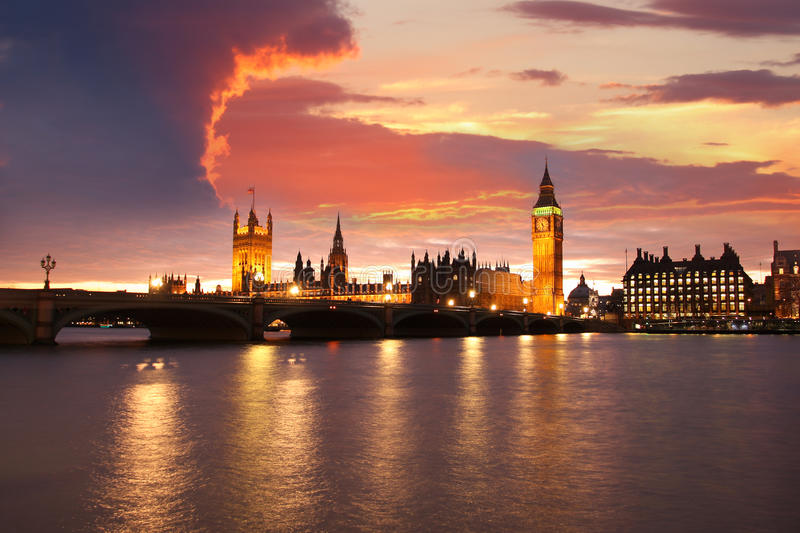 Big Ben in the evening, London, UK. Big Ben in the evening in London, UK royalty free stock photography
