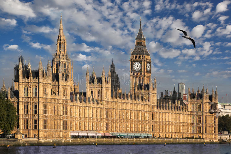 Big Ben in the evening, Westminster, London. Big Ben with famous clock in Westminster, London royalty free stock image
