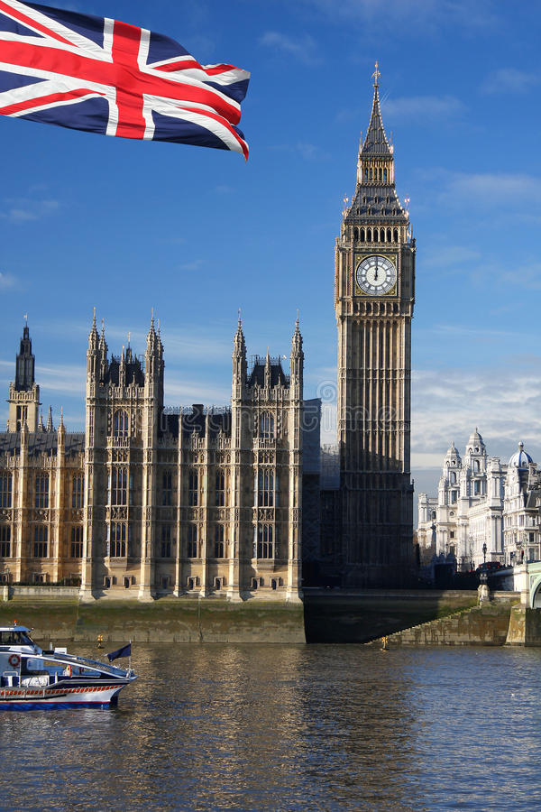 Big Ben with flag of England, UK. Big Ben with flag of England,London royalty free stock images