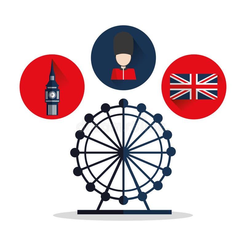Big Ben flaga oko i soldat projekt royalty ilustracja