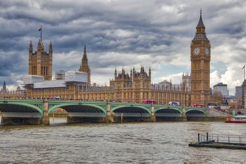 Big Ben HDR. Big Ben clock tower - landmark of London, UK. HDR image stock photo