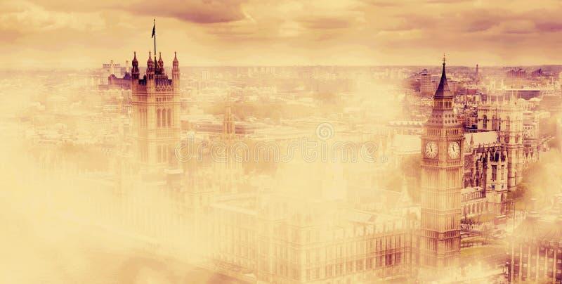 Big Ben, het Paleis van Westminster in mist Londen, het UK stock illustratie