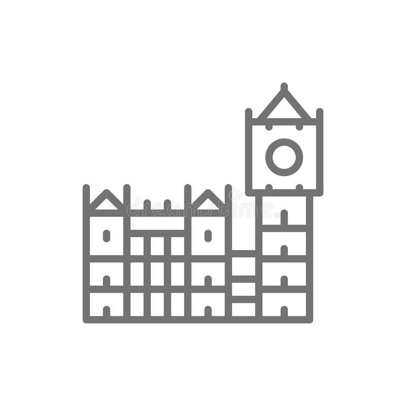 Big Ben, historisches Gebäude mit Uhr in London, England Linie Ikone lizenzfreie abbildung