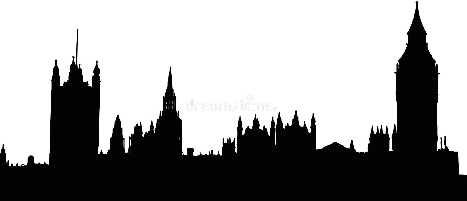 Big Ben and Houses of the Parliament in London. Silhouette of the Big Ben and the Houses of the Parliament in London - isolated illustration stock illustration