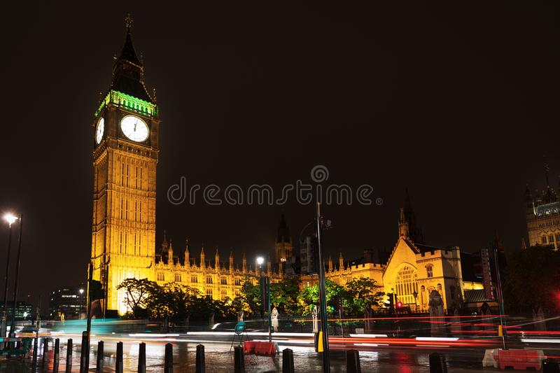 Big Ben and Houses of Parliament in night lights stock image