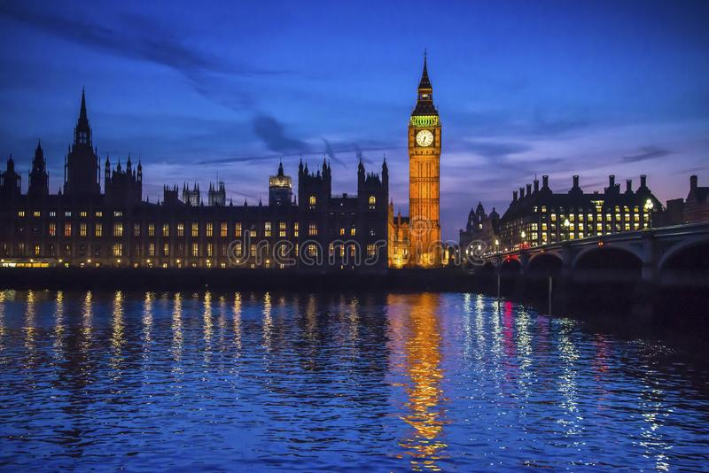 Big Ben and Houses of Parliament at night, London, UK stock photography
