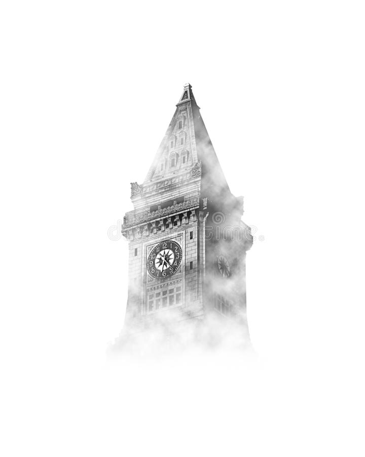 Big Ben i himlen med moln stock illustrationer