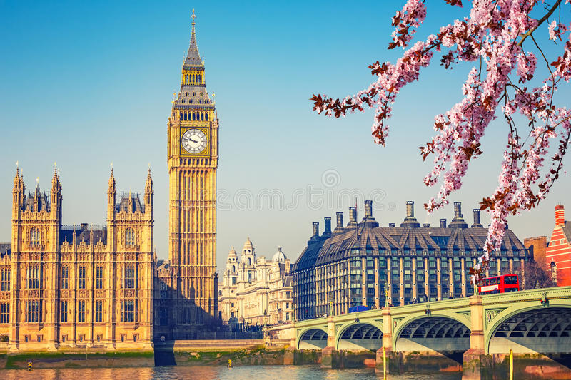 Big Ben i London på våren arkivbilder