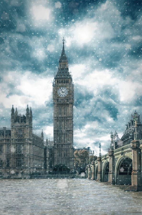 Big Ben i London under vinter, Förenade kungariket arkivfoton