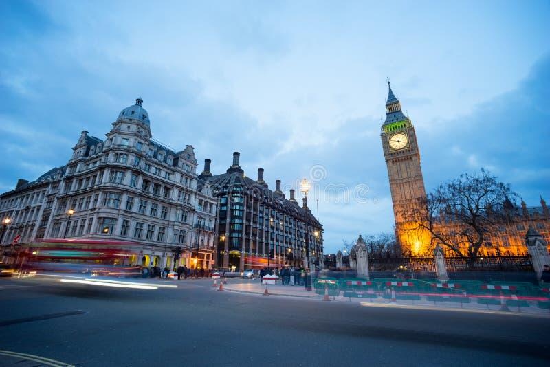 Big Ben i statua Sir Winston Churchill, Londyn, Anglia obraz royalty free