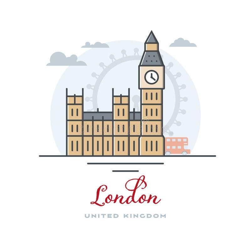 Big Ben i Westminister pałac przy Londyn, Zjednoczone Królestwo, płaska wektorowa ilustracja ilustracji
