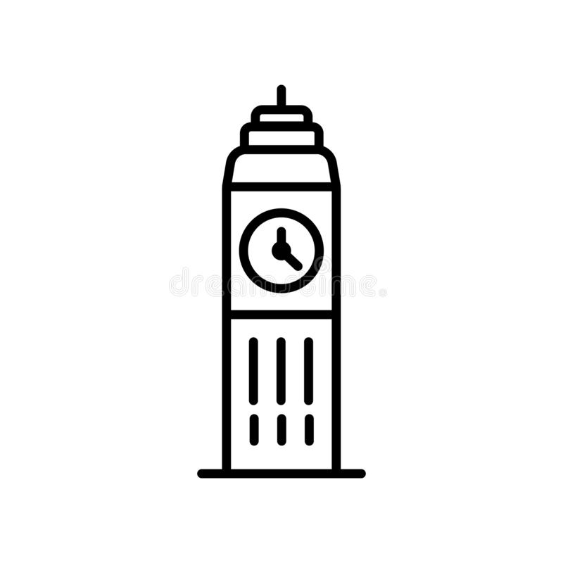 Big ben icon vector isolated on white background, Big ben sign , line or linear sign, element design in outline style vector illustration