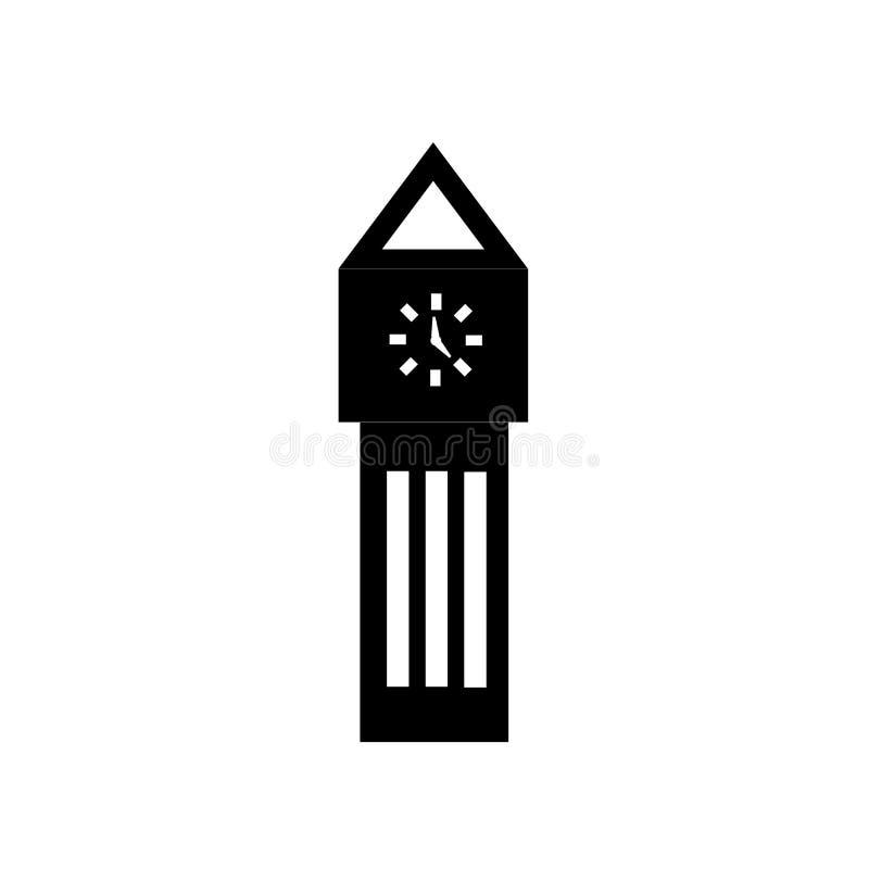 Big ben icon vector isolated on white background, Big ben sign , black time symbols stock illustration