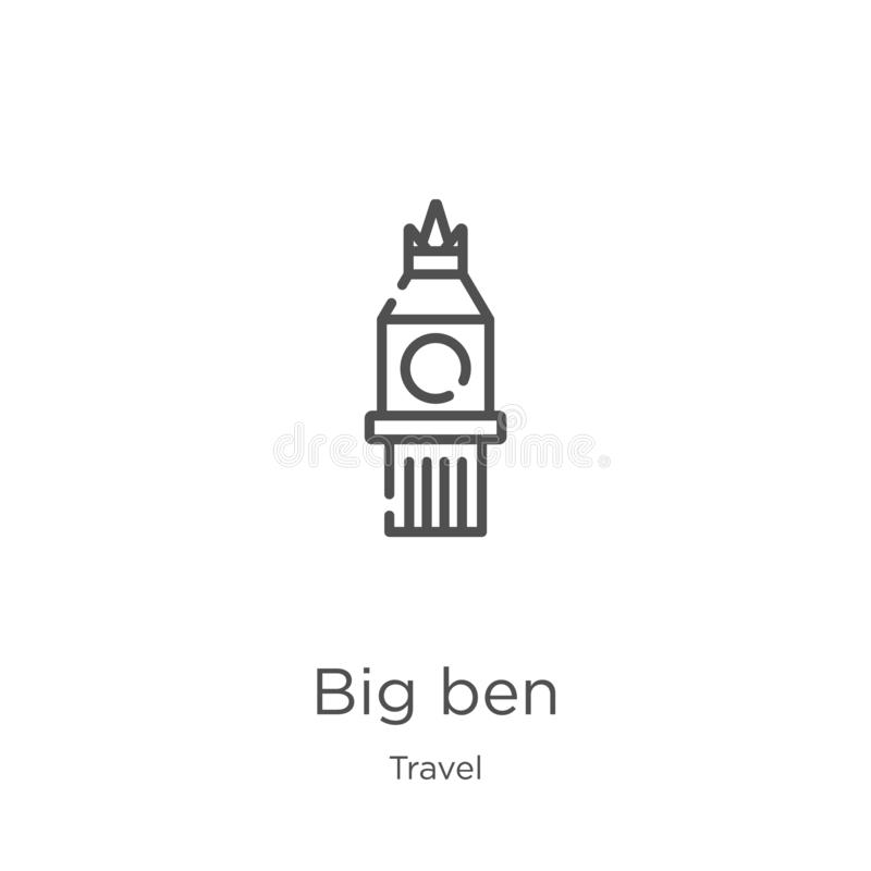 Big ben icon vector from travel collection. Thin line big ben outline icon vector illustration. Outline, thin line big ben icon. Big ben icon. Element of travel royalty free illustration