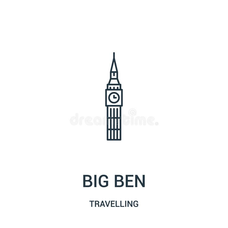 Big ben icon vector from travelling collection. Thin line big ben outline icon vector illustration. Linear symbol. For use on web and mobile apps, logo, print royalty free illustration