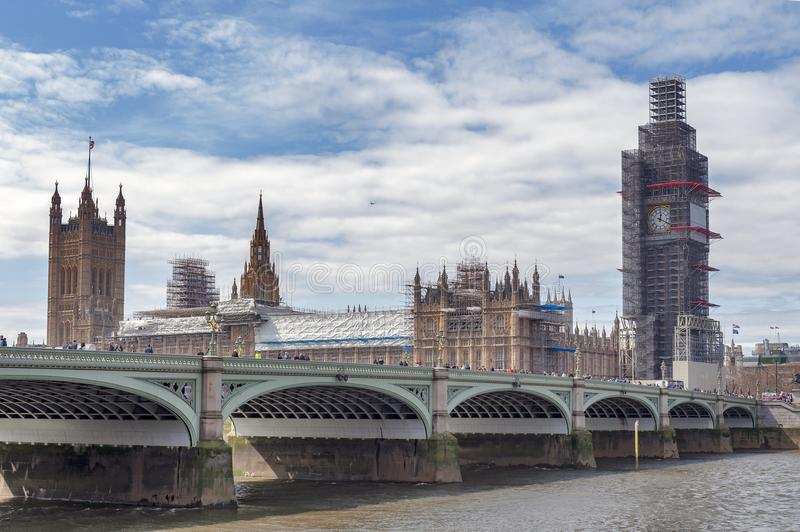 Big Ben, the iconic landmark of London, and the Palace of Westminster being scaffolded during the significant renovation royalty free stock photos