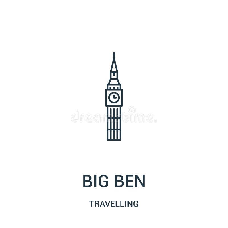 big ben ikony wektor od podróżnej kolekcji Cienka kreskowa big ben konturu ikony wektoru ilustracja Liniowy symbol royalty ilustracja